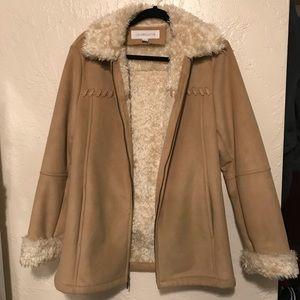 Liz Claiborne Faux Fur Suede Braided Duster Coat S